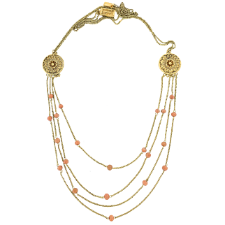 18K  Etruscan Style Necklace with Coral Beads