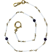 18K Art Nouveau White Enamel Chain with Amethyst and Pearls