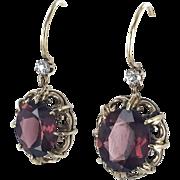 14K Victorian Earrings with Garnet Dangle Drops
