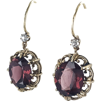 14K Victorian Earrings with Garnet Dangle Drops