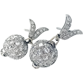 Platinum & 18K Art Deco Pave Diamond Ball Earrings