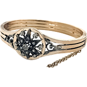 French Victorian Diamond Star Bangle in 18K Rose Gold