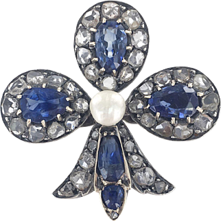 18K & Silver French Victorian Natural Sapphire &  Diamond Club Brooch