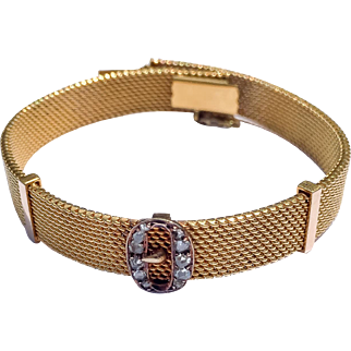 18K Victorian Mesh Bracelet with Diamond Buckle