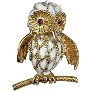 18K White Enamel Estate Owl Brooch