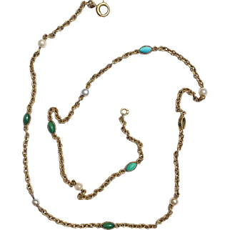 18K French Victorian Turquoise & Pearl Necklace