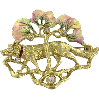 18K Art Nouveau Brooch with Ruby and Diamond Accents