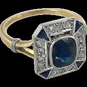 French  Edwardian 18K Platinum Sapphire & Diamond Ring