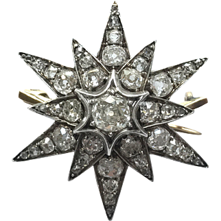 18K & Silver Victorian Starburst Pin with Rose Cut Diamonds