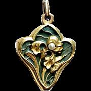 Art Nouveau Plique a Jour Pendant with Articulated 18K Gold Iris