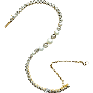 Edwardian Platinum Topped 18 Yellow Gold  Pearl & Diamond Line Bracelet