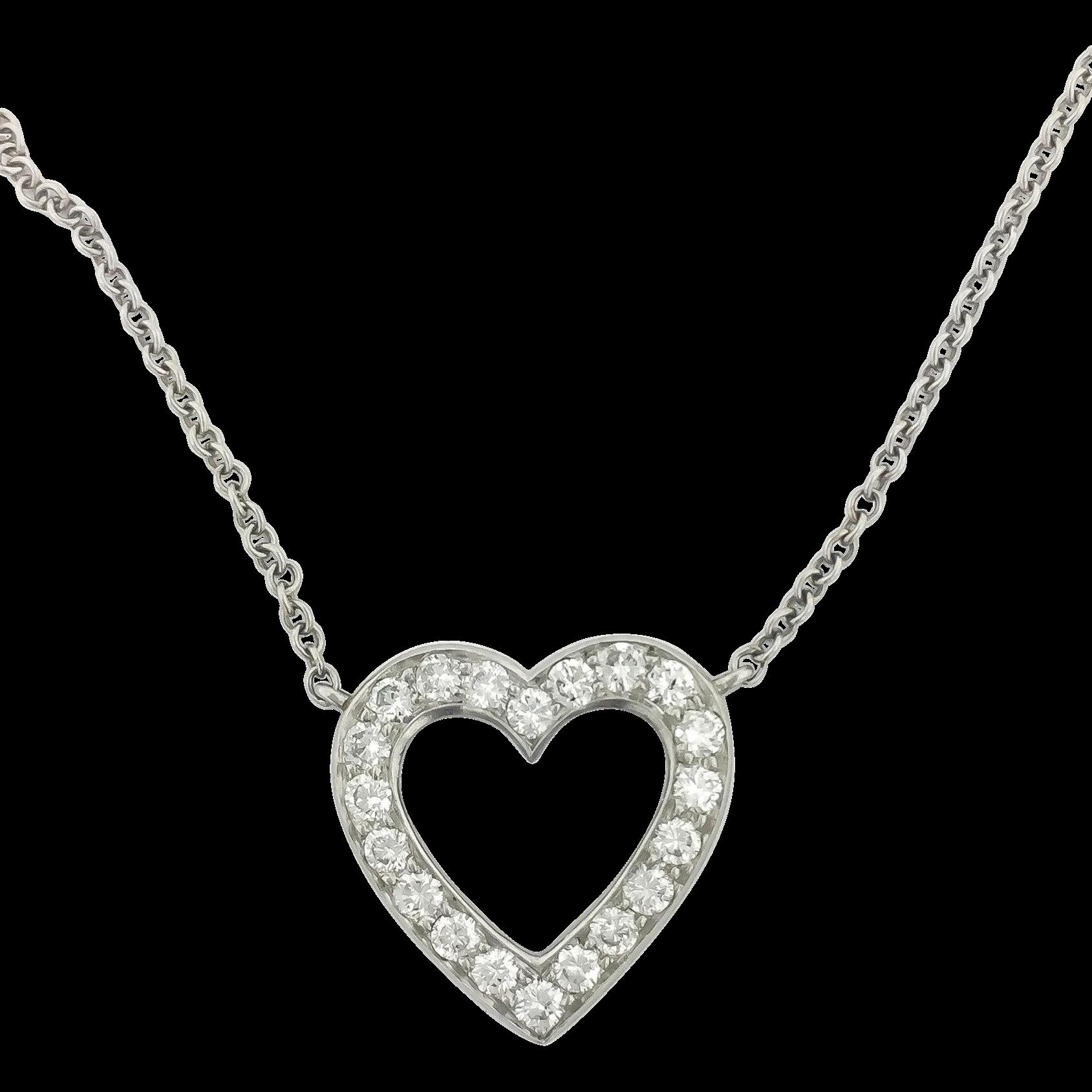 Platinum tiffany diamond heart estate necklace from platinum tiffany diamond heart estate necklace aloadofball Image collections