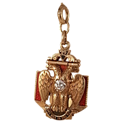 14K Diamond Masonic Tri Fold Fob/Pendant Circa 1919