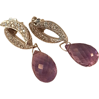18KWG Briolette Amethyst and Diamond Earrings