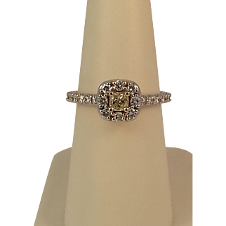14KWG Natural Yellow Cushion Cut and White Diamond Ring