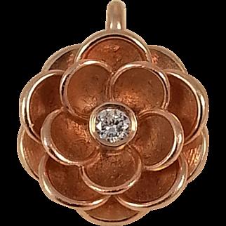 Stunning 14K Rose Gold Diamond Flower Pendant