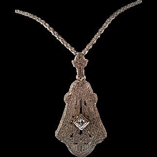 Art Deco Filigree Diamond Necklace
