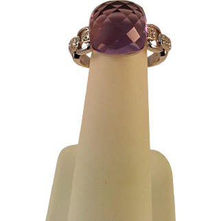 14KWG Amethyst and Diamond Ring