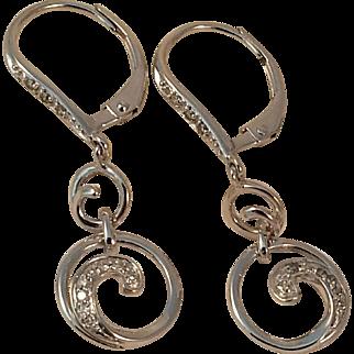 14KWG Diamond Scroll Dangle Earrings