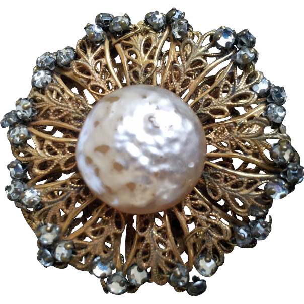 Miriam haskell baroque glass pearl pin brooch signed from for Clear baroque glass