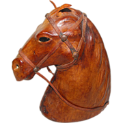 Leather Covered Horse Head Vintage