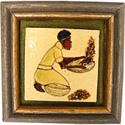 Painted Tile Mounted in Frame