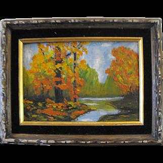 Vibrant Fall Trees Nature Scene Oil Painting