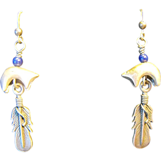 Vintage Lapis Sterling Native Bear & Feather Earrings