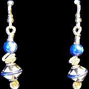 Blue Lapis Porcelain Basket Bead Earrings