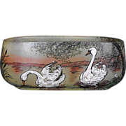 Painted Enamel Swan Dish