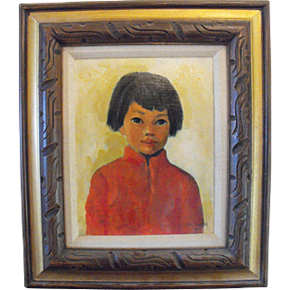 Asian Boy Oil Painting Signed Board Oriental