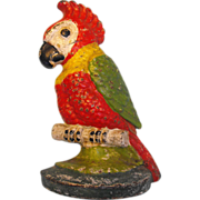 Cast Iron Parrot Doorstop Painted
