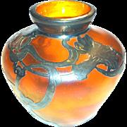 Loetz Sterling Silver Overlay Art Glass Vase Art Nouveau