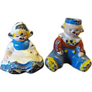 Cast Iron Dutch Baby Boy Girl Painted Pair Figurines Hubley