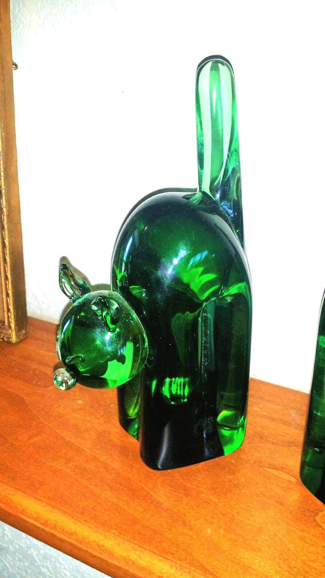 Camer Glass Cat Bookends Murano Archimede Seguso from ...