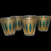 Stunning Tiffany Aqua Blue Culver Whiskey Tumblers Glasses