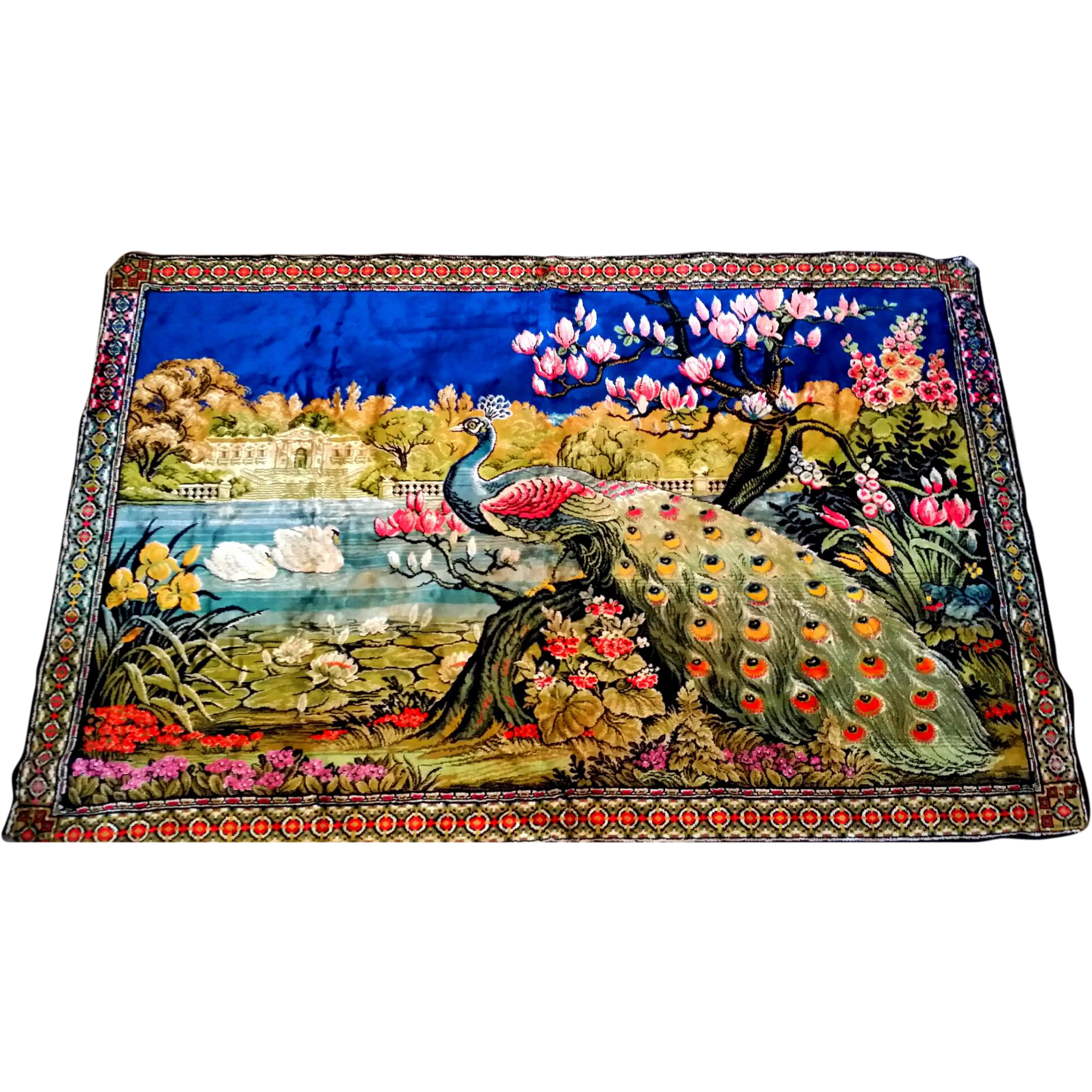 Peacock Wall Hanging Rug Tapestry Swans From
