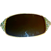 Matson Mirror Tray Ormolu Flowers 24k Oval