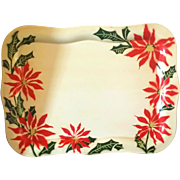 Christmas Metal Serving Tray Social Supper Poinsettia