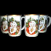 Christmas St. Nicholas Mug Fitz & Floyd set 4