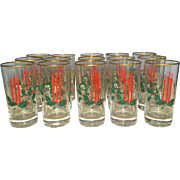 Christmas Holly Berries Candle Glasses Set 15