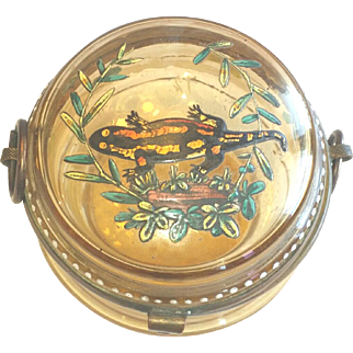 Moser Patch Snuff Ladies Vanity Box Enamel Paint Salamander