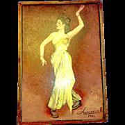 Oil on Board Lanssens Signed Yellow Dress Lady Dancer