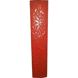 Red Lacquer Box Chopstick Carved Asian