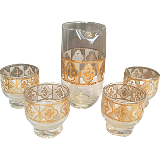 Culver Cocktail Pitcher and Glasses Gold Beverage Set
