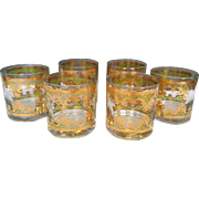 Georges Briard Old Fashioned Green Gold Bar Beverage Glasses