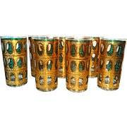 Culver Tall Highballs Seville Gold Crackle Blue Barware