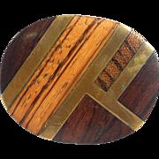 Vintage Wood Wooden Brass Belt Buckle Kenneth Reid