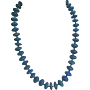 Natural Lapis Lazuli Disk Rondelle Necklace Native American Indian