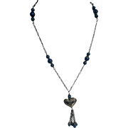 Sterling Silver Heart Blue Lapis Beaded Necklace